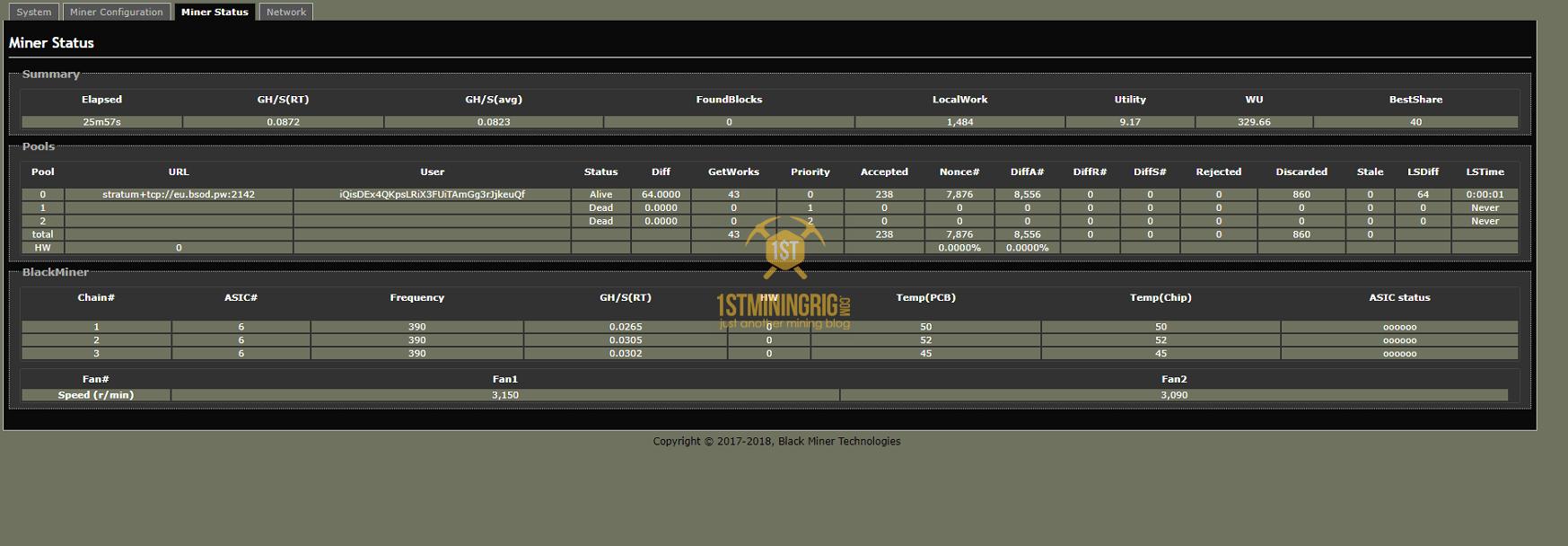 BlackMiner-F1-FPGA-infinex-IFX-Lyra2z-Mining-Hashrate-