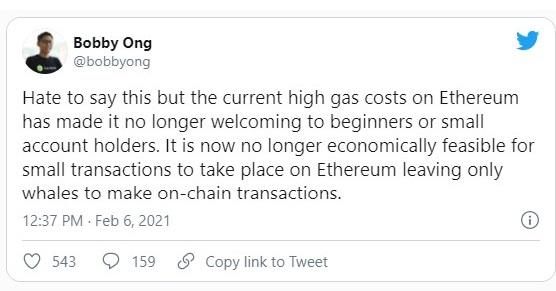 توییت بابی اونگ در مورد قیمت گس