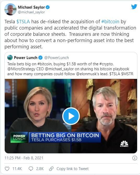 توییت مدیر مایکرواستراتژی در مورد خرید بیت کوین توسط تسلا