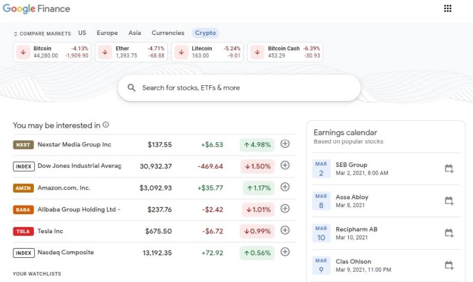 اضافه شدن تب ارزهای دیجیتال به سرویس google finance