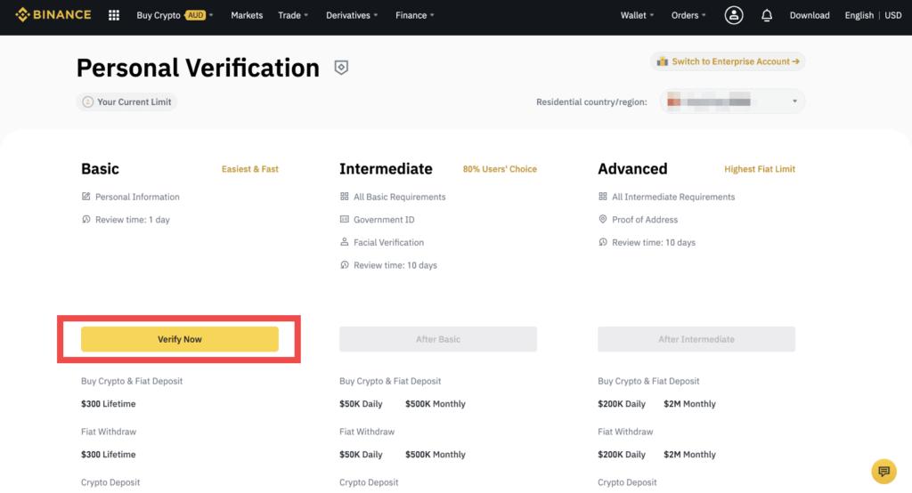 احراز هویت صرافی بایننس سطح کاربری پایه Basic