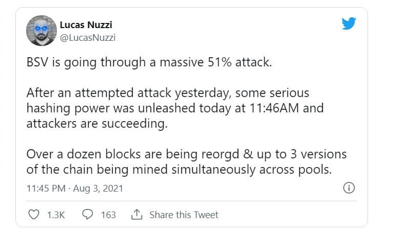 توییت لوکاس نوزی در مورد حمله ۵۱ درصدی بیت کوین اس وی