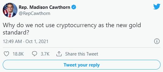 توییت مدیسون کاتورن درباره رمز ارزها